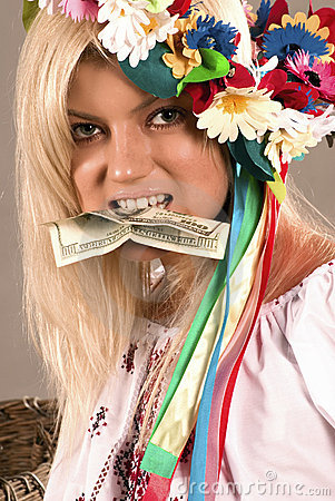 Free Beautifull Ukrainian Girl With Dollar In Her Teeth Royalty Free Stock Photos - 1148218