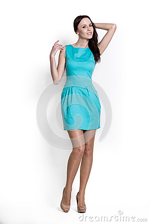 Beautifull woman in blue dress