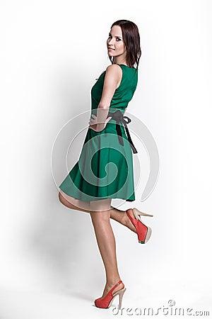 Beautifull woman in green dress