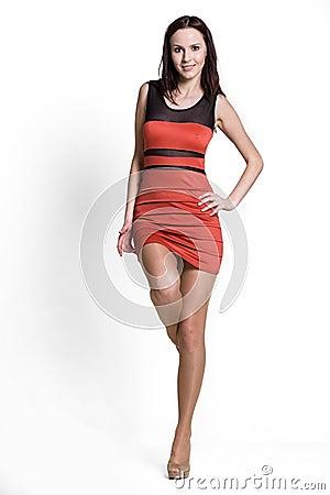 Beautifull woman in red dress