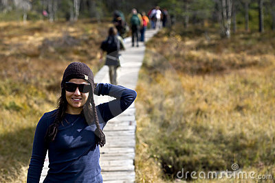 Beautifull woman trekking in the moutains