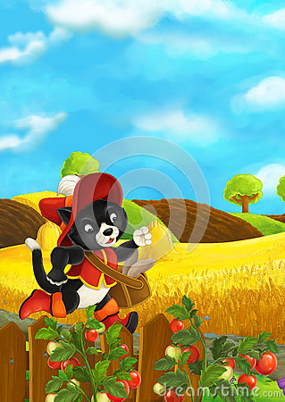 Free Beautifully Colored Scene With Cartoon Character - Cat Traveler Running Somewhere - Fields In The Background Stock Photos - 72653193