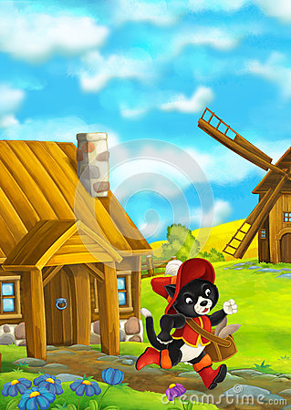 Free Beautifully Colored Scene With Cartoon Character - Cat Traveler Running Somewhere - Windmill In The Background Stock Photos - 72653183