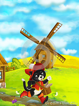 Free Beautifully Colored Scene With Cartoon Character - Cat Traveler Running Somewhere - Windmill In The Background Royalty Free Stock Photography - 72653207