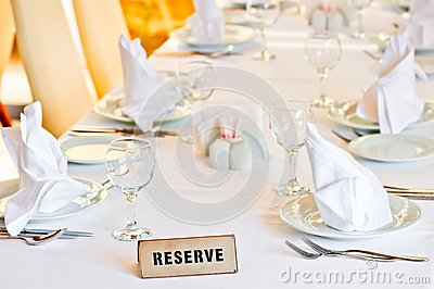 Beautifully set table is reserved for guests of restaurant