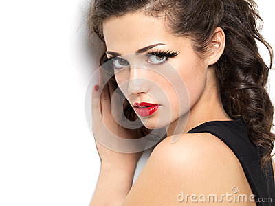 Beautiul fashion girl with red lips
