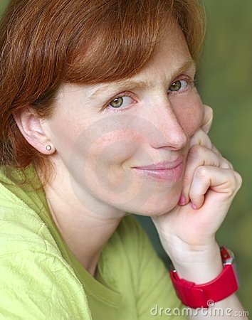 Beautriful redhead woman smiling pose