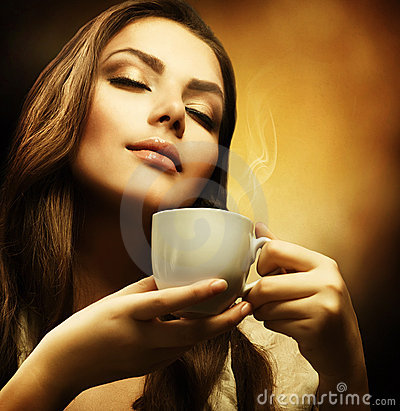 Free Beautuful Woman With Cup Of Coffee Stock Image - 16974421