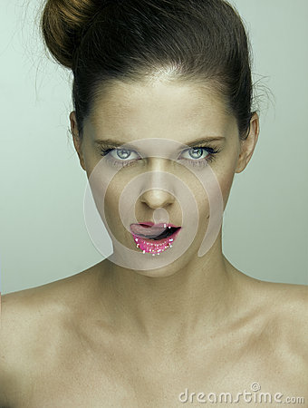Portrait of woman with sugary lips