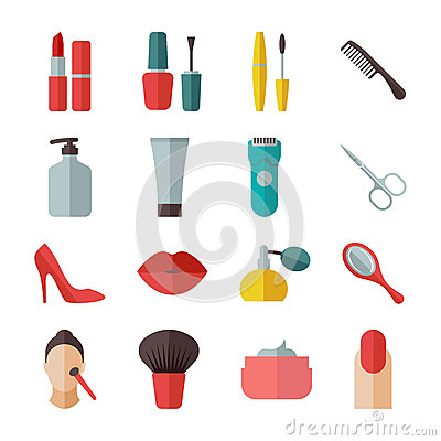 Free Beauty And Makeup Flat Icons Stock Image - 48729691