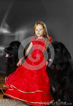 Free Beauty And The Beast. Girl With Big Black Water-dog. Stock Image - 78039771