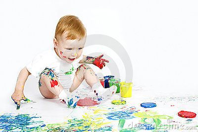 Beauty baby with paint on white
