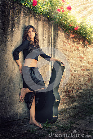Beauty in black with giutar