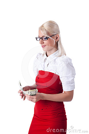 Beauty blond  business woman count dollars