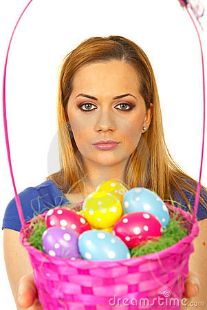 Beauty blond woman with Easter basket