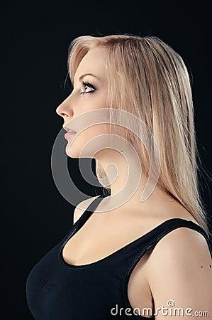 Beauty blonde on black