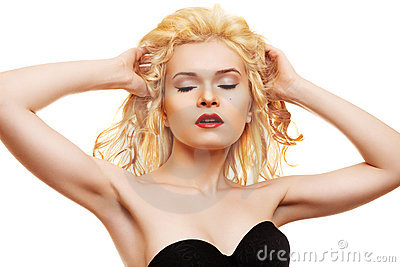 Beauty. Blonde with red lips & healthy shiny hair