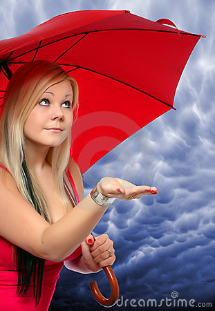 Beauty blonde with umbrella.