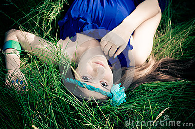 Beauty in blue dress