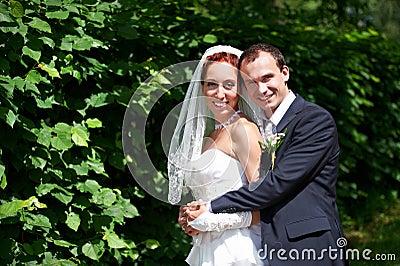 Beauty bride and groom on wedding walk