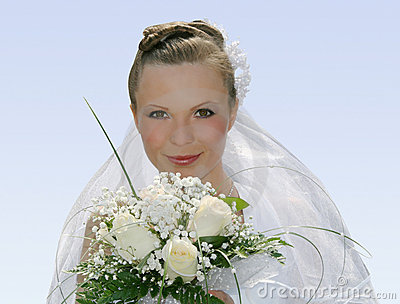 Beauty bride in white dress