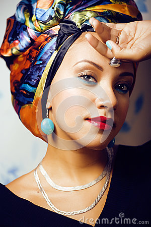 Free Beauty Bright African Woman With Creative Make Up, Shawl On Head Royalty Free Stock Photography - 79697227