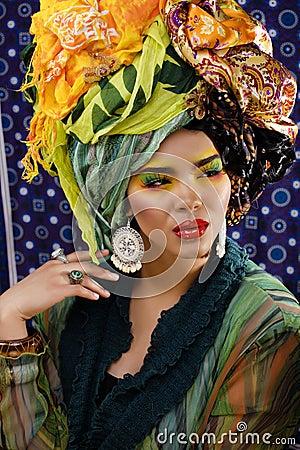 Free Beauty Bright Woman With Creative Make Up, Many Shawls On Head Like Cubian, Ethno Look Closeup Stock Photo - 67657530