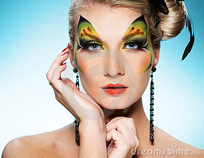 Beauty with butterfly face art
