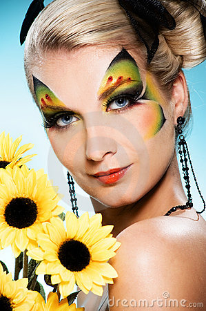 Beauty With Butterfly Face-art Royalty Free Stock Photo - Image ...
