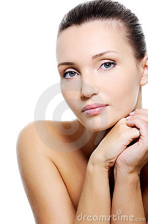 Beauty calm caucasian woman with purity skin