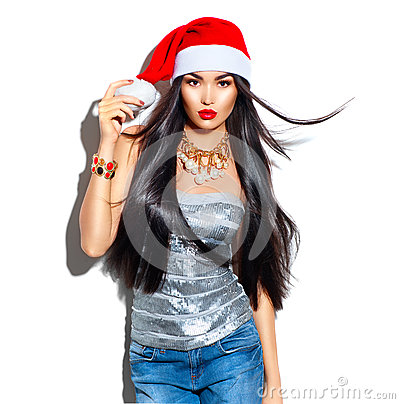Free Beauty Christmas Fashion Model Girl With Long Hair In Red Santa Hat Royalty Free Stock Photos - 82307018