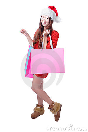 Beauty Christmas Girl Take Pink Blank Shopping Bag