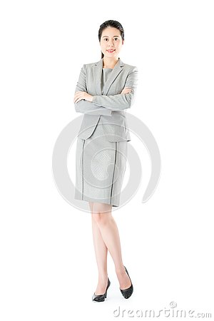 Free Beauty Confident Asian Business Woman Cross Arm Standing Stock Photos - 85585403