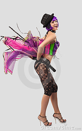 Beauty Disco Girl dance in color corset