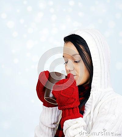 Beauty drinking hot beverage