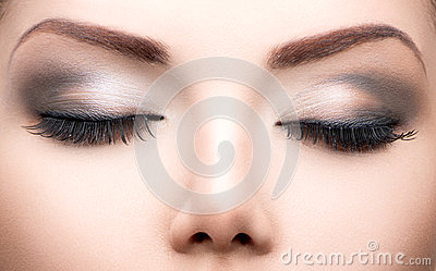 Beauty eyes makeup closeup