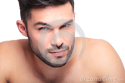 Beauty face of an un shaved naked young man