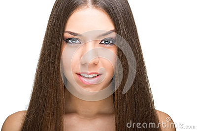 Beauty face of young beautiful woman with health clean skin