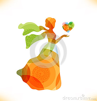 Beauty fantasy woman with heart