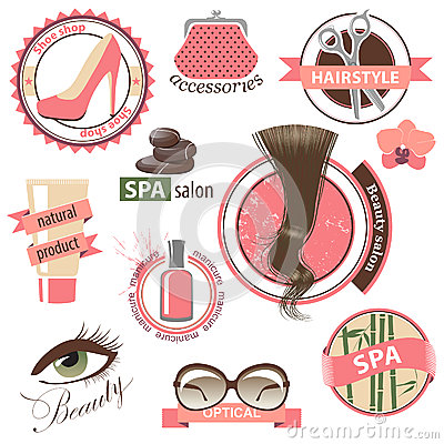 Beauty and fashion emblems