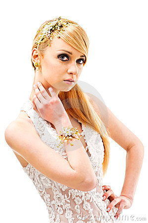 Beauty and fashion glamour model in brides dress