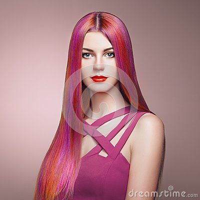 Free Beauty Fashion Model Girl With Colorful Dyed Hair Stock Images - 108951024