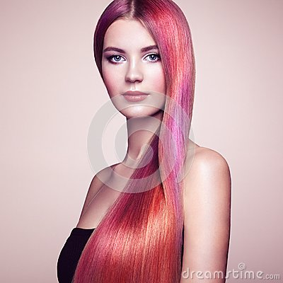 Free Beauty Fashion Model Girl With Colorful Dyed Hair Stock Photos - 110002153