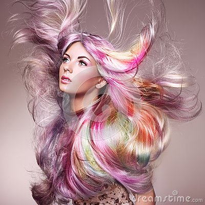 Free Beauty Fashion Model Girl With Colorful Dyed Hair Stock Photo - 115142120