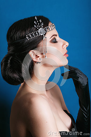 Free Beauty Fashion Model Retro Girl Over Blue Background. Vintage Style Woman Portrait. Royalty Free Stock Images - 69282279