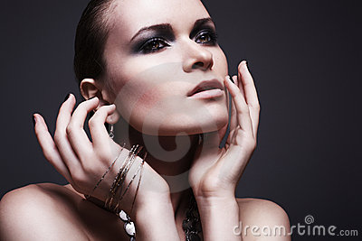 Beauty & fashion. Woman with evening make-up