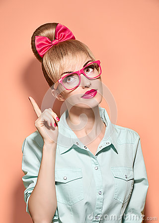 Free Beauty Fashion Woman, Stylish Glasses.Hipster Girl Stock Images - 65403374