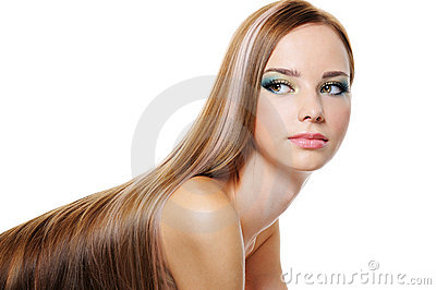 Beauty female with long smooth luxuriant hair