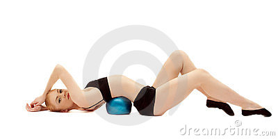Beauty girl in black cloth lay on gymnastic ball