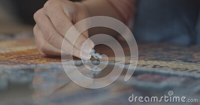 The beauty girl collects the puzzle at home. Board game - puzzle. Games at home. Selection of an element. Packing stock footage